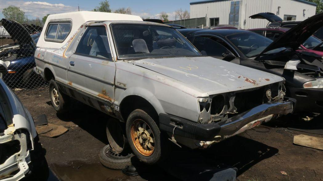 """<p>Like<a href=""""https://en.wikipedia.org/wiki/AMC_Eagle"""" target=""""_blank"""">the AMC Eagle</a>, the<a href=""""https://en.wikipedia.org/wiki/Subaru_BRAT"""" target=""""_blank"""">Subaru BRAT</a> was a big sales hit in Colorado, much more than in the rest of North America, and you still see plenty of examples of both vehicles on Colorado streets ... and in Colorado wrecking yards. Here's a 1982 BRAT with camper shell that made it to age 35 before being forcibly retired. <a href=""""https://www.autoblog.com/2017/06/22/junkyard-gem-1982-subaru-brat/""""><em>Read more</em></a>.</p>"""