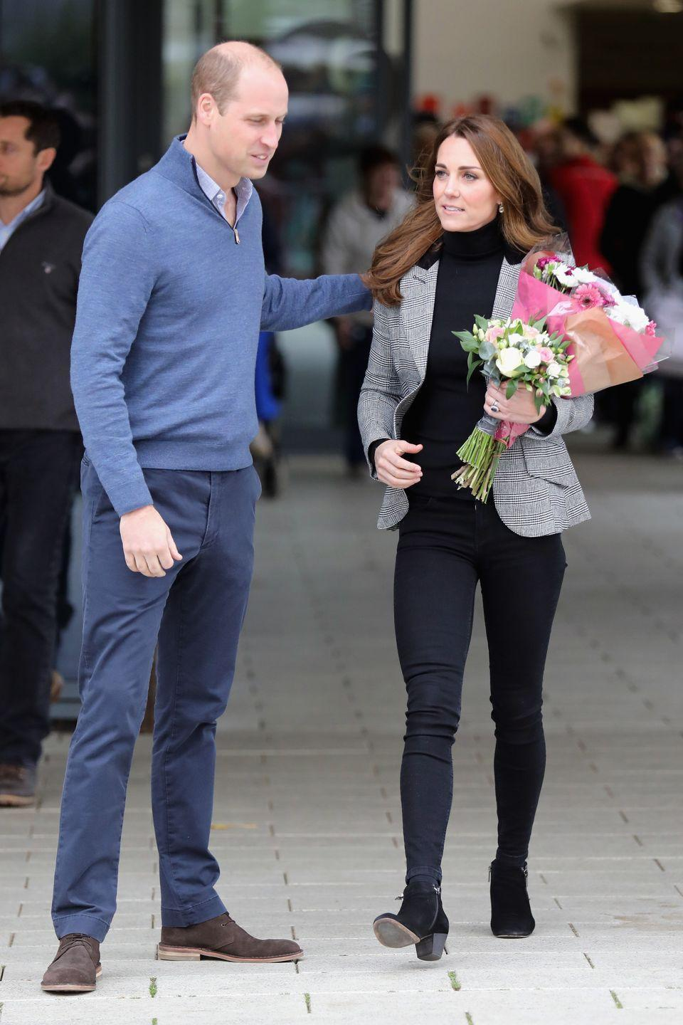 <p>The Duke of Cambridge put a loving arm around his wife during a visit to Coach Core Essex, October 2018.</p>