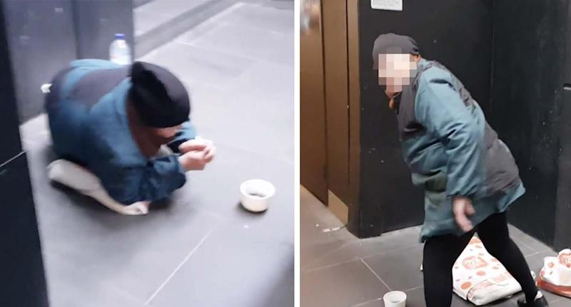 One woman in a black beanie and green coat quickly gathered her things, while gesturing for the camera to leave in Melbourne's CBD last month.