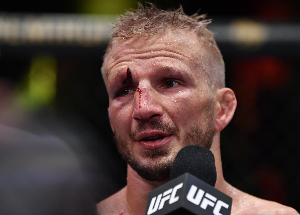 LAS VEGAS, NEVADA - JULY 24: T.J. Dillashaw reacts after his split-decision victory over Corey Sandhagen in their bantamweight fight during the UFC Fight Night event at UFC APEX on July 24, 2021 in Las Vegas, Nevada. (Photo by Jeff Bottari/Zuffa LLC)