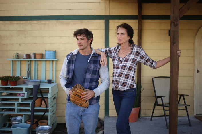 """This image released by IFC Films shows Jake Allyn, left, and Andie McDowell in a scene from """"No Man's Land."""" (IFC FIlms via AP)"""