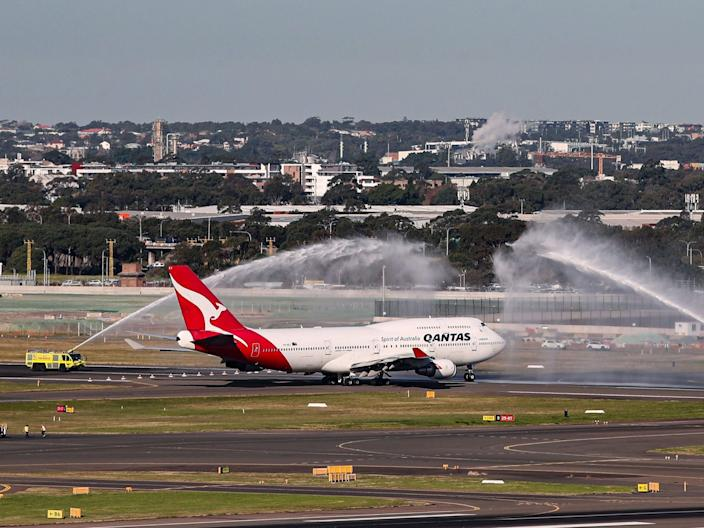 Qantas' final Boeing 747 received the traditional water cannon salute upon its departure from Sydney's Kingsfor Smith Airport.