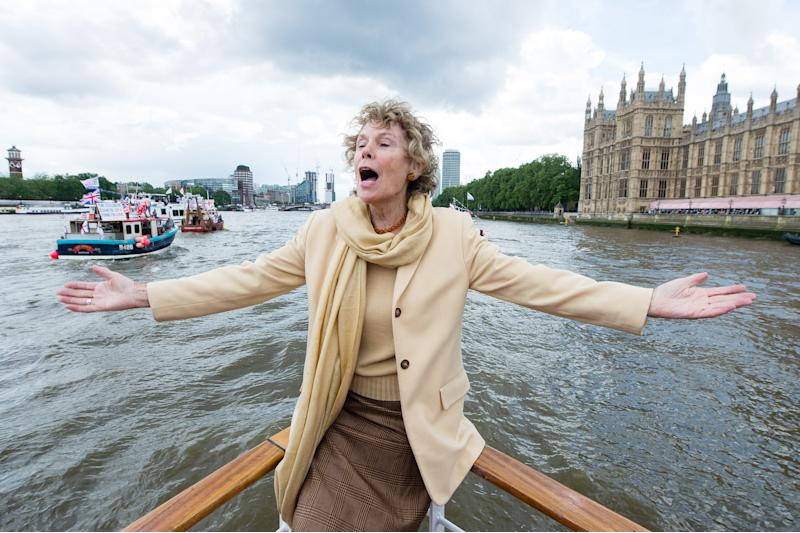 LONDON, ENGLAND - JUNE 15: Kate Hoey shows her support for the 'Leave' campaign for the upcoming EU Referendum aboard a boat on the River Thames on June 15, 2016 in London, England. Nigel Farage, leader of UKIP, is campaigning for the United Kingdom to leave the European Union in a referendum being held on June 23, 2016. (Photo by Jeff Spicer/Getty Images)