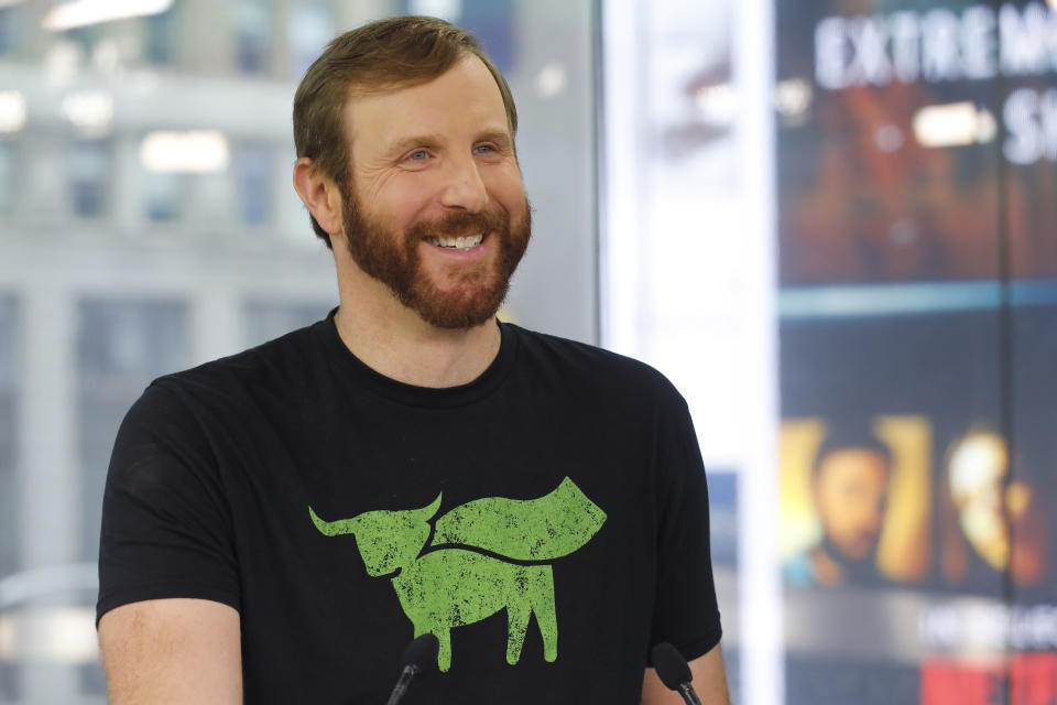 Ethan Brown, CEO of Beyond Meat, attends the Opening Bell ceremony to celebrate the company's IPO at Nasdaq, Thursday, May 2, 2019 in New York. California-based Beyond Meat makes burgers and sausages out of pea protein and other ingredients. (AP Photo/Mark Lennihan).