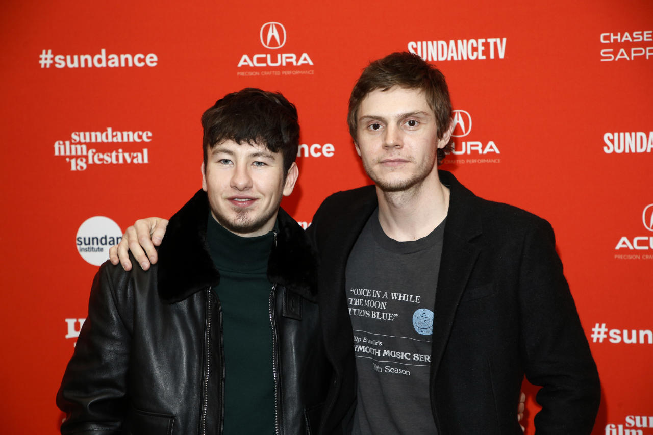 """Actors Barry Keoghan, left, and Evan Peters, right, pose at the premiere of """"American Animals"""" during the Sundance Film Festival on Friday, Jan. 19, 2018, in Park City, Utah. (Photo by Danny Moloshok/Invision/AP)"""