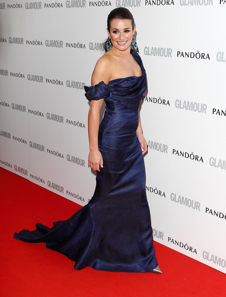 """Just won the <em>Glamour</em> 2012 Women of the Year TV Actress award!!"" Lea Michele, 25, tweeted from the show. ""Such an honor! What an amazing night."" And what an amazing dress! The ""Glee"" star was wearing a midnight blue Zac Posen one-shoulder gown and had on extra makeup playing up her eyes."