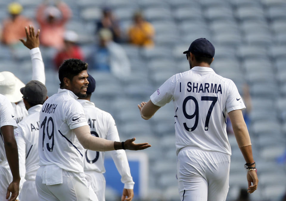 Ishant Sharma and Umesh Yadav bowled five apiece upfront followed by one over from Shami.