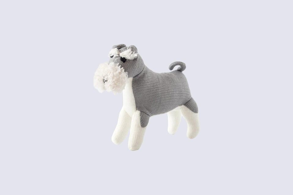 """<p>What could be more charming than a toy modeled after your own dog? These knit ones come in all breeds—dachshund, poodle, Italian greyhound, and this Schnauzer.</p> <p><strong><em>Shop Now: </em></strong><em>English Hound Schnauzer Dog Toy, $16.91, </em><a href=""""https://www.etsy.com/listing/736124577/schnauzer-dog-toy"""" rel=""""nofollow noopener"""" target=""""_blank"""" data-ylk=""""slk:etsy.com"""" class=""""link rapid-noclick-resp""""><em>etsy.com</em></a><em>.</em></p>"""