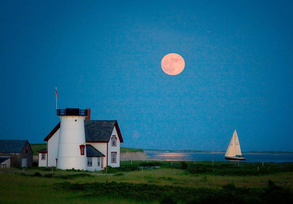 <p>A full moon over the water sets the mood for another enchanted evening in Cape Cod.</p>