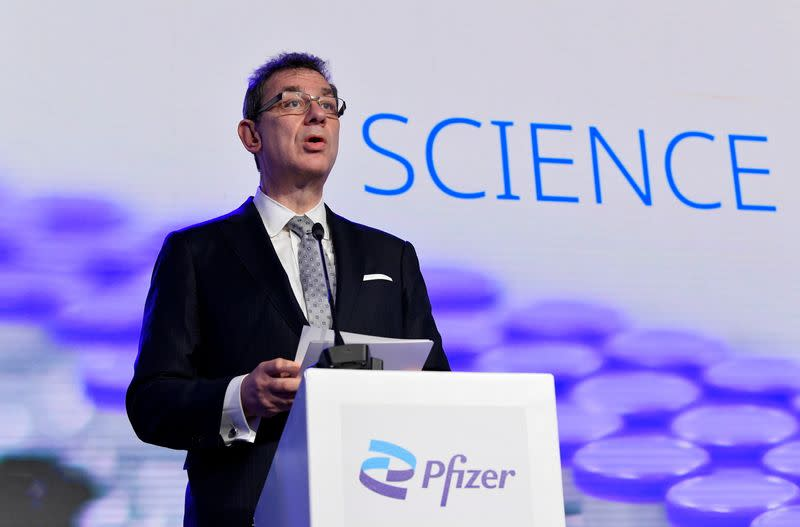 FILE PHOTO: Pfizer CEO Albert Bourla talks during a press conference after a visit at Pfizer vaccine plant in Puurs