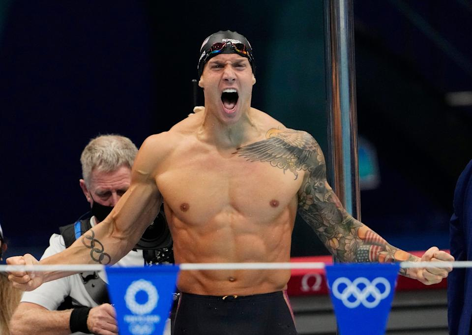 August 1, 2021: Caeleb Dressel (USA) celebrates after winning the men's 4x100m medley final during the Tokyo 2020 Olympic Summer Games at Tokyo Aquatics Centre.