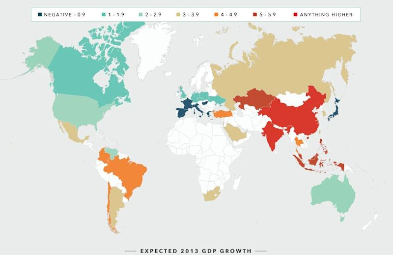Heat map: Credit Suisse' fearless growth forecast for world's economies in 2013