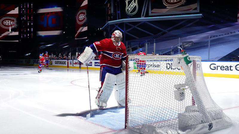 TORONTO, ONTARIO - AUGUST 21: Goaltender Carey Price #31 prepares to play against the Philadelphia Flyers in Game Six of the Eastern Conference First Round during the 2020 NHL Stanley Cup Playoffs at Scotiabank Arena on August 21, 2020 in Toronto, Ontario. (Photo by Mark Blinch/NHLI via Getty Images)