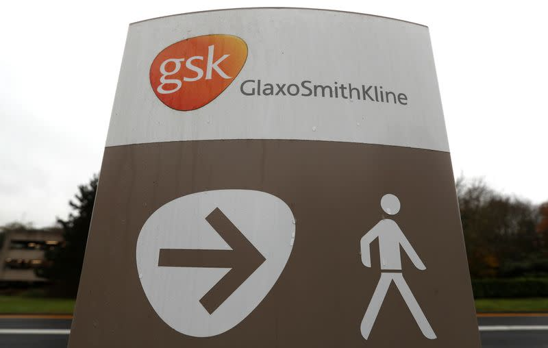 A GSK logo is seen at the GSK research centre in Stevenage