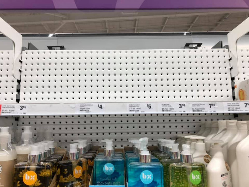 Pictured is an empty shelf in Coles where antibacterial products used to be.