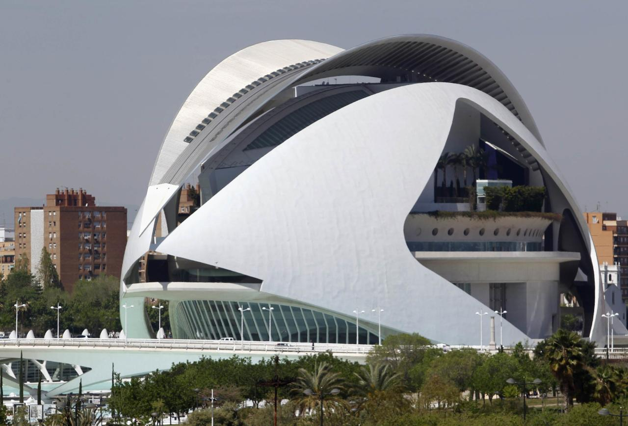 The Palace of Arts Reina Sofia at the City of Arts and Sciences, by architect Santiago Calatrava, is pictured in Valencia April 25, 2012. The palace's cost escalated up to around 380 million euros, according to local media. REUTERS/Heino Kalis (SPAIN - Tags: SOCIETY BUSINESS)