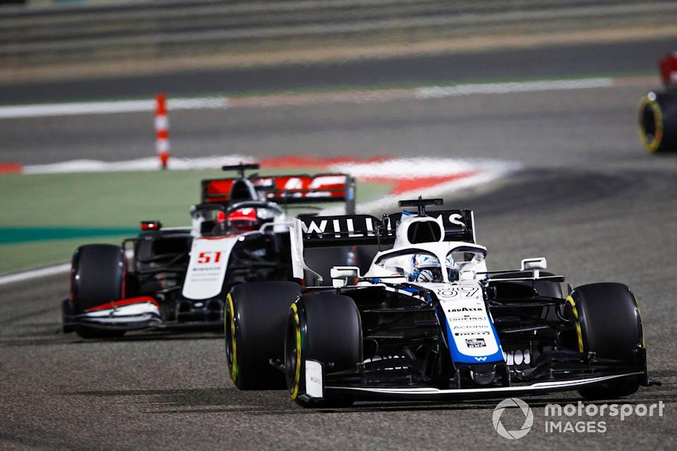 """Jack Aitken, Williams FW43, Pietro Fittipaldi, Haas F1 Haas VF-20<span class=""""copyright"""">Zak Mauger / Motorsport Images</span>"""