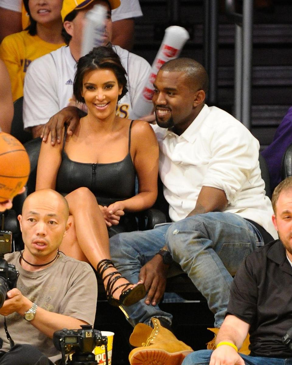 <p>The couple make a public appearance at a Lakers basketball game in May.</p>