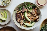 """Tossed with a miso and tahini dressing, this bowl calls for your favorite mushrooms, preferred greens, and a grain of your choice. Top your creation off with avocado slices. <a href=""""https://www.epicurious.com/recipes/food/views/avocado-miso-mushroom-bowl?mbid=synd_yahoo_rss"""" rel=""""nofollow noopener"""" target=""""_blank"""" data-ylk=""""slk:See recipe."""" class=""""link rapid-noclick-resp"""">See recipe.</a>"""