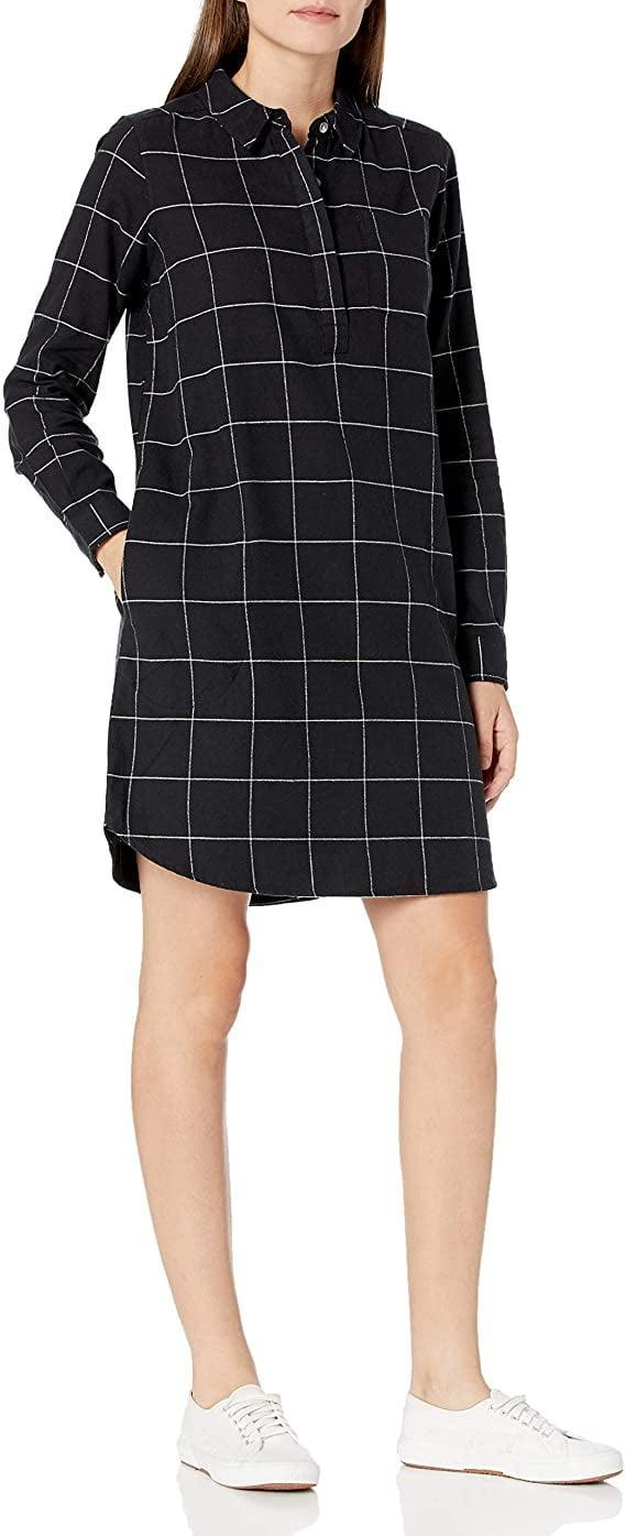 <p>For work video meetings, throw on this <span>Goodthreads Brushed Flannel Popover Dress</span> ($35).</p>