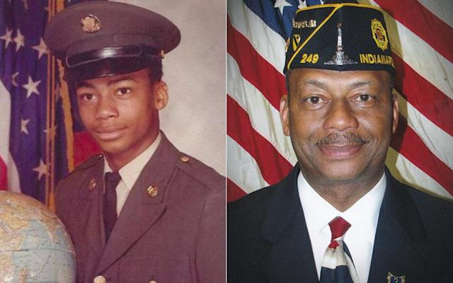 Boatright shown at age 17 in his 1974 U.S. Army portrait (left)and at age 60, in his American Legion portrait (right).
