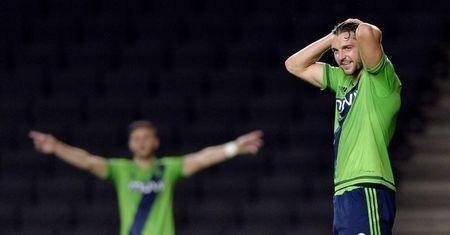 Football - Milton Keynes Dons v Southampton - Capital One Cup Third Round - Stadium MK - 23/9/15 Southampton's Jay Rodriguez looks dejected after having a goal disallowed. Action Images / Adam Holt/ Livepic/ Files