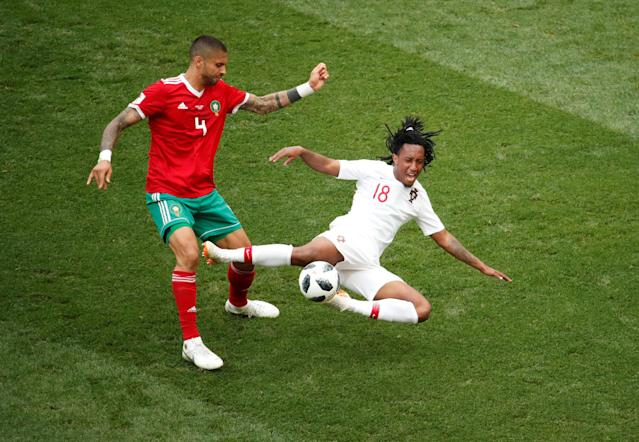 Soccer Football - World Cup - Group B - Portugal vs Morocco - Luzhniki Stadium, Moscow, Russia - June 20, 2018 Portugal's Gelson Martins in action with Morocco's Manuel da Costa REUTERS/Christian Hartmann