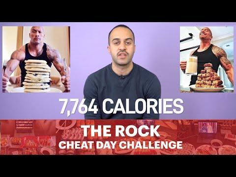 """<p>On <a href=""""https://www.menshealth.com/uk/fitness/lifestyle/a32876882/the-rock-cooking-mistake/"""" rel=""""nofollow noopener"""" target=""""_blank"""" data-ylk=""""slk:Dwayne Johnson"""" class=""""link rapid-noclick-resp"""">Dwayne Johnson</a>'s day off the big-screen legend likes to tuck into meals so large, so over the top, so gluttonous that we couldn't help try it for ourselves.</p><p>That's 7,764 calories in one sitting, nearly the recommended daily calorie intake of three fully grown men. Could we keep it all down? Check out the video to find out.</p><p><a href=""""https://www.youtube.com/watch?v=F4ZuTVgTbYk&t=1s"""" rel=""""nofollow noopener"""" target=""""_blank"""" data-ylk=""""slk:See the original post on Youtube"""" class=""""link rapid-noclick-resp"""">See the original post on Youtube</a></p>"""