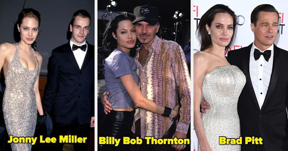 Angelina Joliewith her former husbands