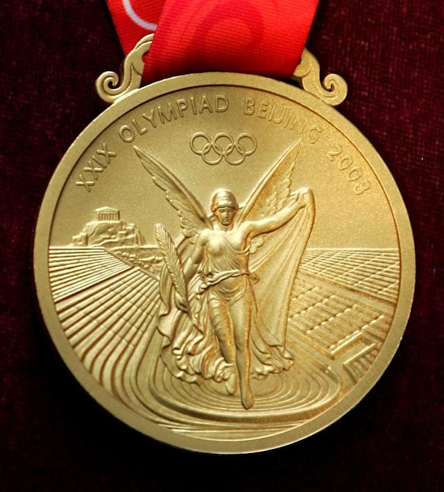 The gold medal for the 2008 Beijing Olympic Games. (AP Photo/Greg Baker)