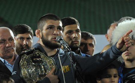 Russia's Khabib Nurmagomedov, UFC lightweight champion who defeated Conor McGregor of Ireland in the main event of UFC 229, speaks during the ceremony of honouring him at Anzhi Arena in Kaspiysk, a city in the republic of Dagestan, Russia October 8, 2018. Picture taken October 8, 2018. REUTERS/Said Tsarnayev