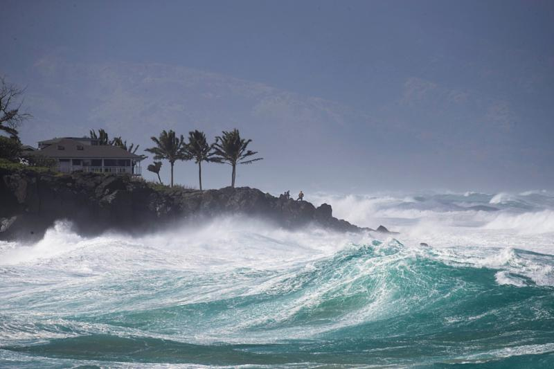 Rough surf hits Oahu's Waimea Bay near Haleiwa, Hawaii, on Sunday.