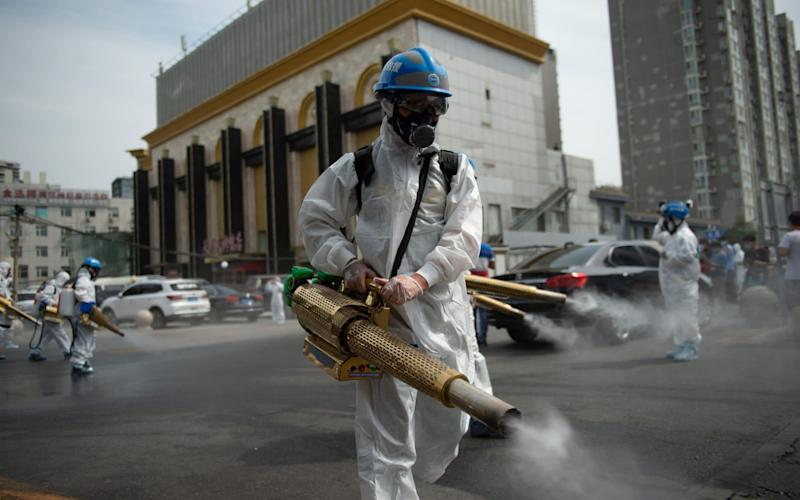 Members of the Beijing Blue Sky Rescue team conduct disinfection at the Yuegezhuang wholesale market in Beijing - Chen Zhonghao