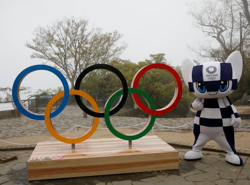 FILE PHOTO: Unveiling of a display of Olympic symbol on Mt. Takao in Hachioji