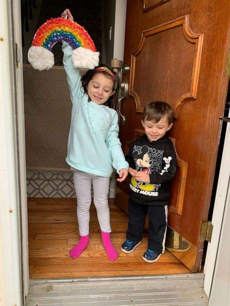 PHOTO: Siblings Stella and Matteo Fusco hold rainbow they created to spread hope and joy in their Long Island, New York, community amid the coronavirus crisis. (Maria Fusco)