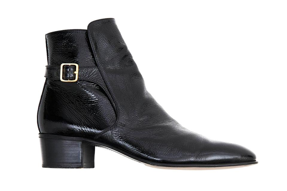 "$750, Husbands. <a href=""https://husbands-paris.com/en/shop/black-buckle-boots-in-crackled-patent-leather/"" rel=""nofollow noopener"" target=""_blank"" data-ylk=""slk:Get it now!"" class=""link rapid-noclick-resp"">Get it now!</a>"