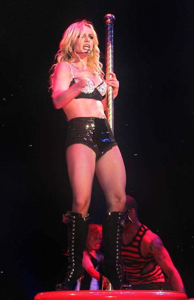 "Britney Spears doesn't dance only onstage. OK! reports the pop princess always demands a ""stripper pole be installed in her hotel rooms."" The mag says ""when a top Dublin hotel denied her request, Brit had to move to the more accommodating Four Seasons, which installed the steel pole for her."" For why she insists on having a stripper pole in her hotel bedrooms, and the craziest lengths used to get one, see what a Spears insider admits to Gossip Cop.  Team Britney/ Splash News - October 13, 2011"