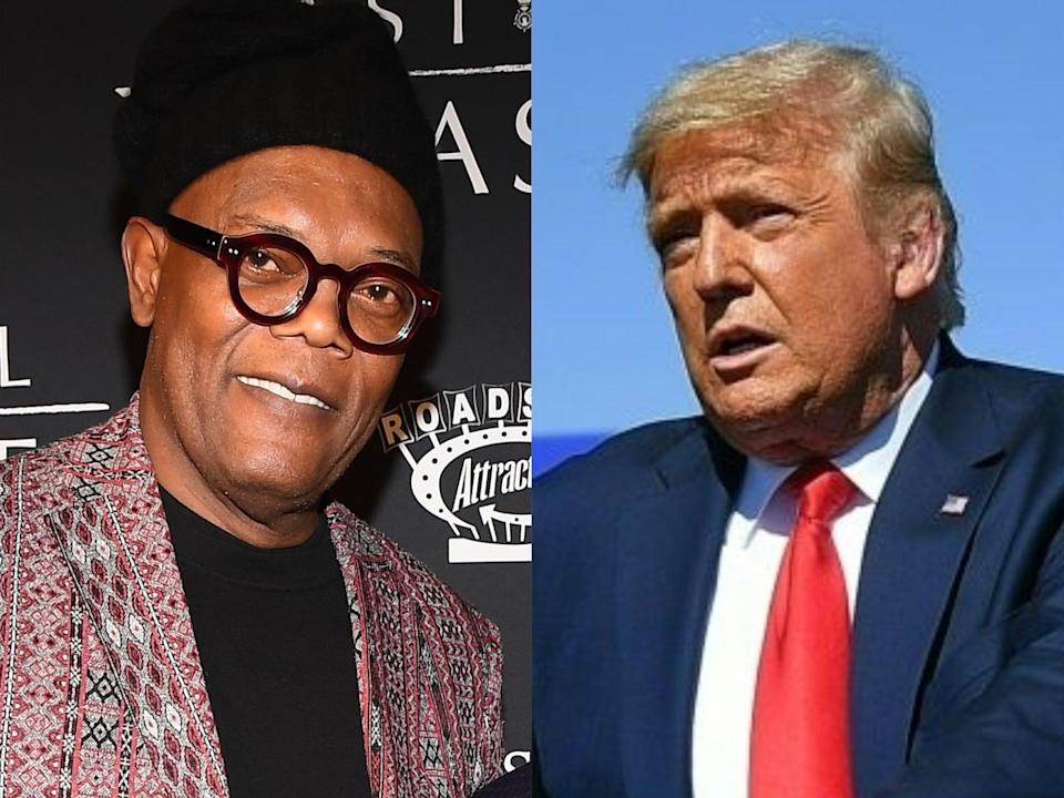 Samuel L Jackson and Donald Trump (Paras Griffin/Mandel Ngan/Getty Images)