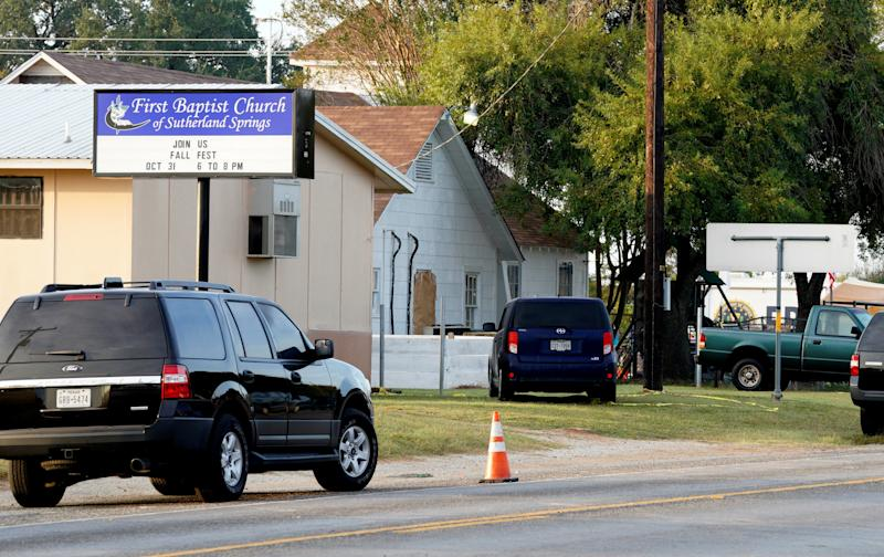 The site of a shooting at the First Baptist Church of Sutherland Springs, Texas. (Rick Wilking / Reuters)