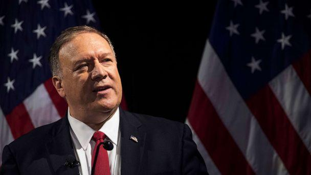 PHOTO: Secretary of State Mike Pompeo speaks during the Herman Kahn Award Gala, Oct. 30, 2019, in New York. (Mary Altaffer/AP)