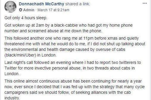 Abuse: The campaigner wrote about the abuse on his FB page