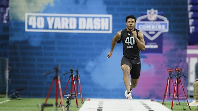 Southern Illinois defensive back Jeremy Chinn runs the 40-yard dash at the NFL football scouting combine in Indianapolis, Sunday, March 1, 2020. (AP Photo/Charlie Neibergall)