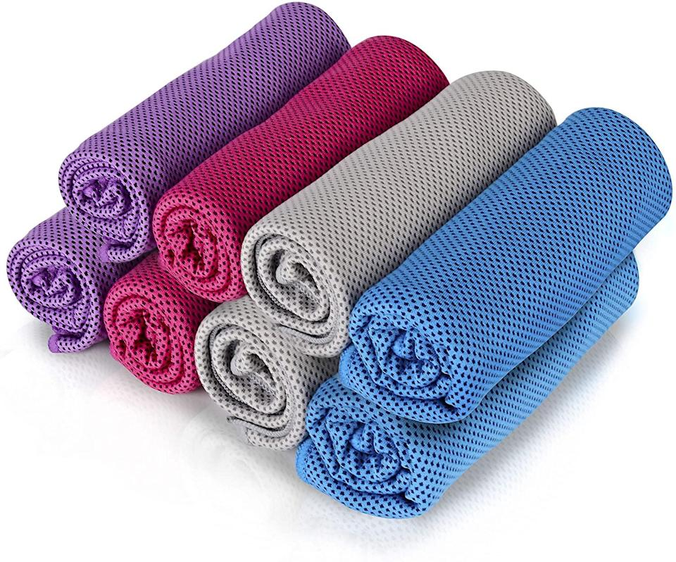 """<br><br><strong>Icseio</strong> 8 Pack Cooling Towels, $, available at <a href=""""https://amzn.to/3nM15M2"""" rel=""""nofollow noopener"""" target=""""_blank"""" data-ylk=""""slk:Amazon"""" class=""""link rapid-noclick-resp"""">Amazon</a>"""