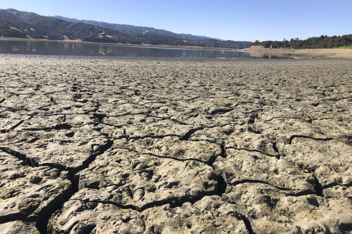 """An exposed dry bed is seen at Lake Mendocino near Ukiah, Calif., Wednesday, Aug. 4, 2021. Tourists flock to the picturesque coastal town of Mendocino for its Victorian homes and cliff trails, but visitors this summer will also find public portable toilets and dozens of signs on picket fences announcing the quaint Northern California hamlet: """"Severe Drought Please conserve water."""" The town of Mendocino gets some of their water from the reservoir, but most of the lake water goes to Sonoma County. (AP Photo/Haven Daley)"""