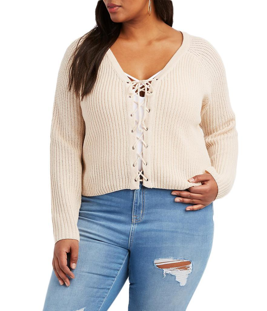 """<p>$32.99,<a rel=""""nofollow noopener"""" href=""""http://www.charlotterusse.com/plus-size-lace-up-cropped-sweater/302285525.html?dwvar_302285525_color=102&cgid=plus-size-sweaters-cardigans#start=9"""" target=""""_blank"""" data-ylk=""""slk:Charlotte Russe"""" class=""""link rapid-noclick-resp"""">Charlotte Russe</a> </p>"""