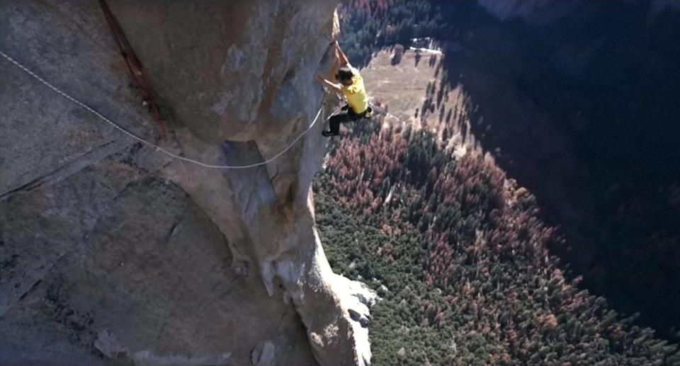 """<p>Free solo rock climber Alex Honnold attempts to achieve his biggest dream: scaling Yosemite's 3200-foot El Capitan - without a rope. This NatGeo documentary follows Honnold as he prepares for and attempts the climb of his life.</p> <p><a href=""""http://www.disneyplus.com/movies/free-solo/3ibzvuU6iPlE"""" class=""""link rapid-noclick-resp"""" rel=""""nofollow noopener"""" target=""""_blank"""" data-ylk=""""slk:Watch Free Solo on Disney+."""">Watch <strong>Free Solo</strong> on Disney+.</a></p>"""