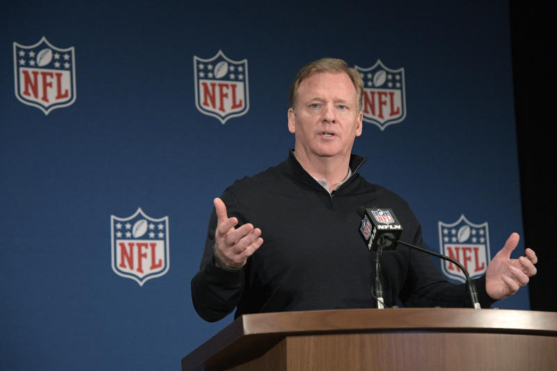 Commissioner Roger Goodell answers a question at the league's meetings. (AP)