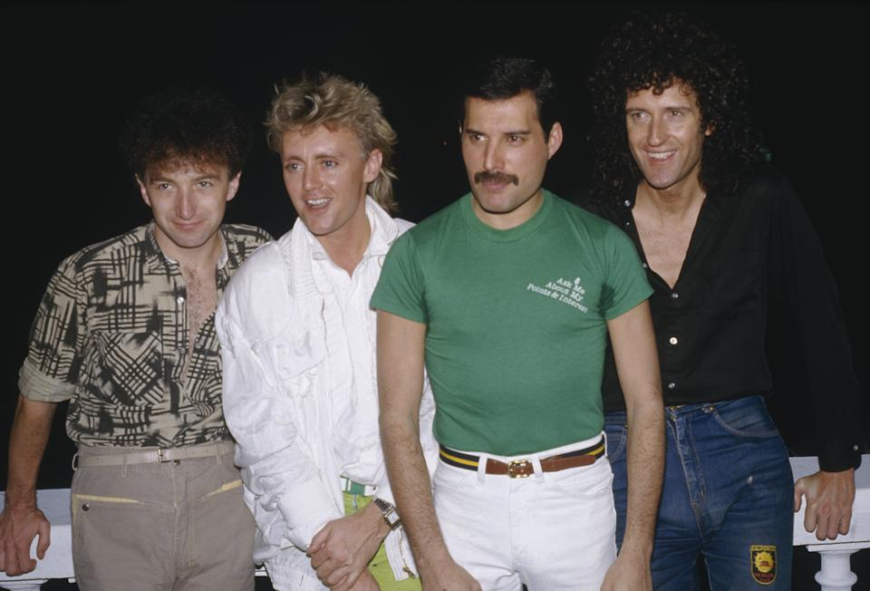 British rock group Queen, from left to right, bassist John Deacon, drummer Roger Taylor, singer Freddie Mercury and guitarist Brian May, 1985. (Photo by Dave Hogan/Getty Images)