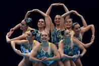 <p>Team Australia compete in the Artistic Swimming Team Technical Routine on day fourteen of the Tokyo 2020 Olympic Games at Tokyo Aquatics Centre on August 06, 2021 in Tokyo, Japan. (Photo by Clive Rose/Getty Images)</p>