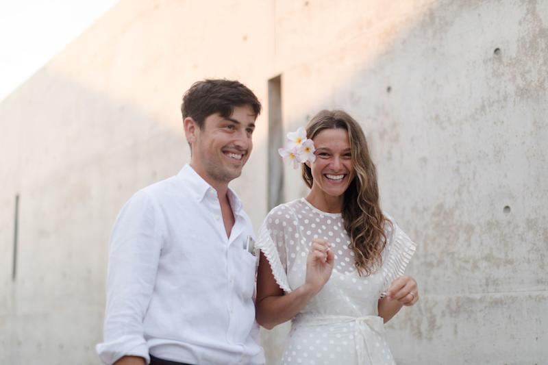 Just before we greeted all our guests on Thursday night. My dress is by Zimmermann; Alex's linen shirt by Alex Crane.